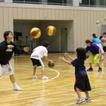 QB選手とパス練習